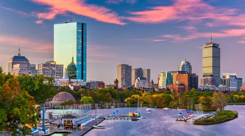 view of downtown Boston from Somerville, Massachusetts