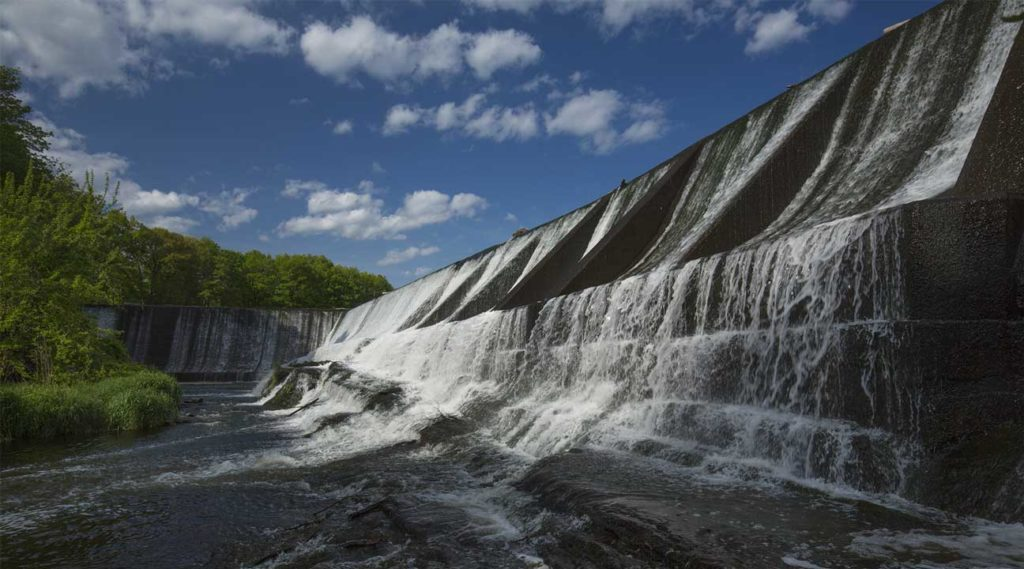 Dam at Union Pond in Manchester, Connecticut