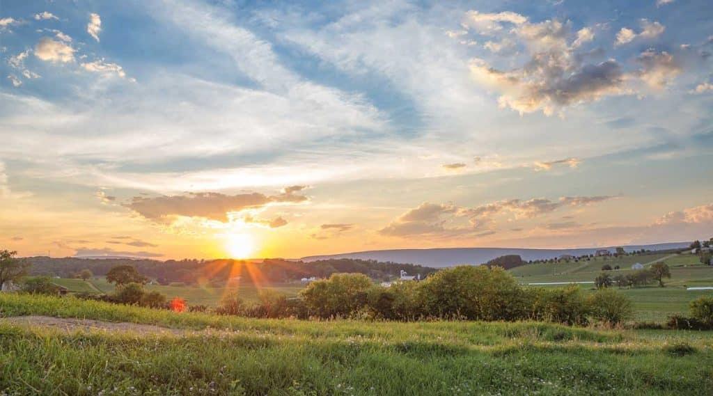 Sunrise over a farm in Pennsylvania