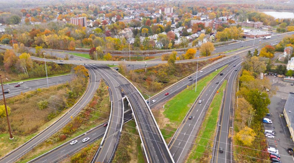 aerial view of the highway through East Hartford, Connecticut