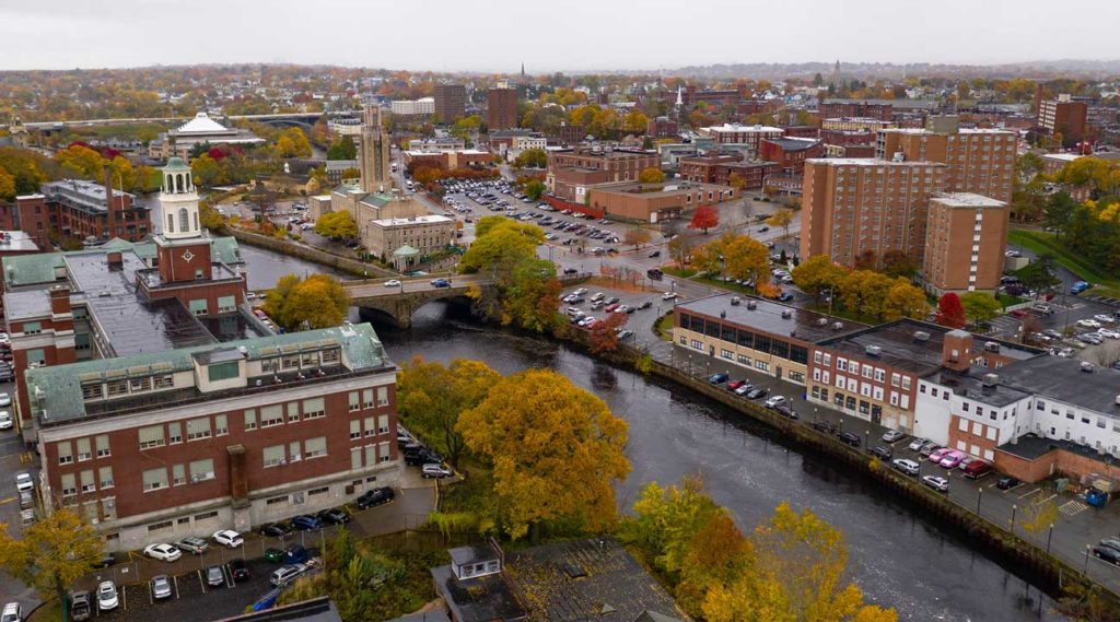aerial view of river in downtown Pawtucket Rhode Island