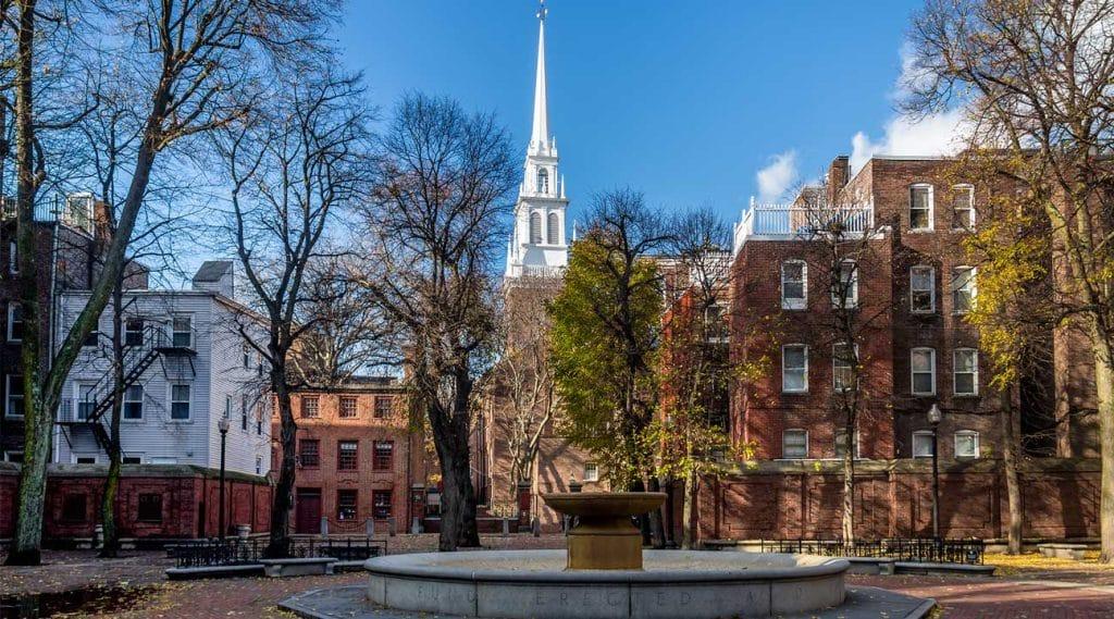 courtyard in downtown Revere Massachusetts
