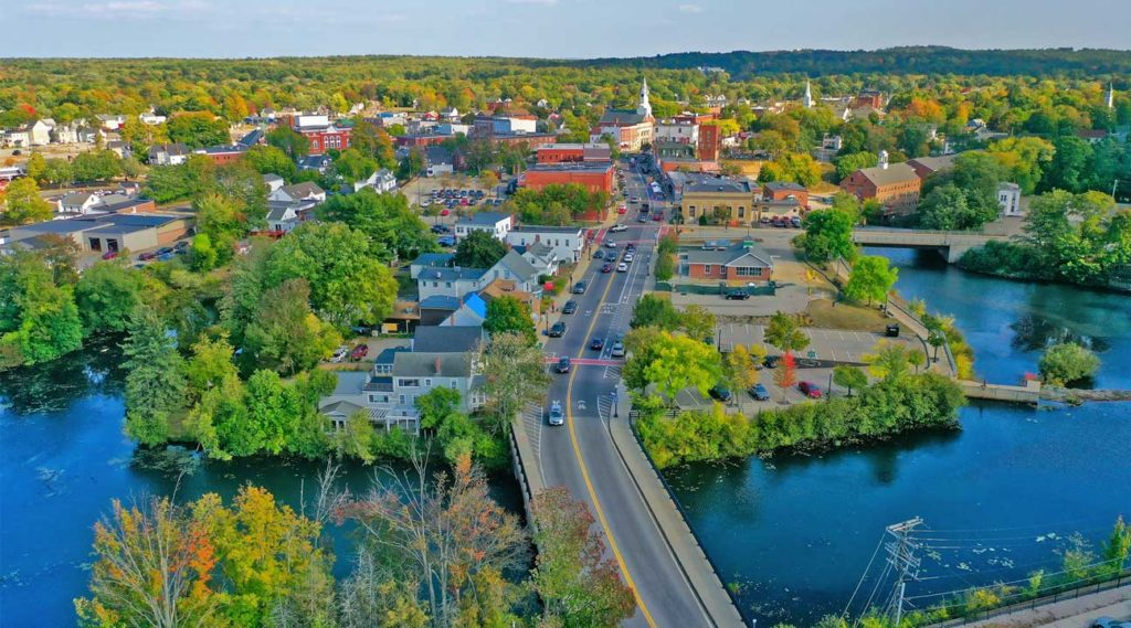 aerial view of Rochester, New Hampshire