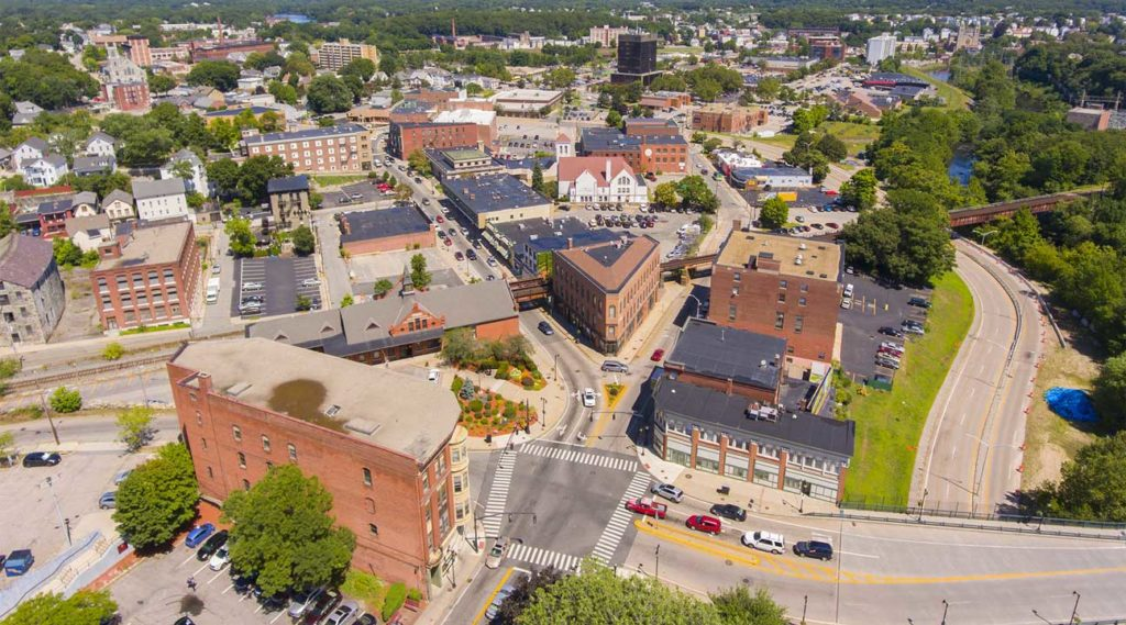 aerial view of downtown Woonsocket, Rhode Island on a sunny day