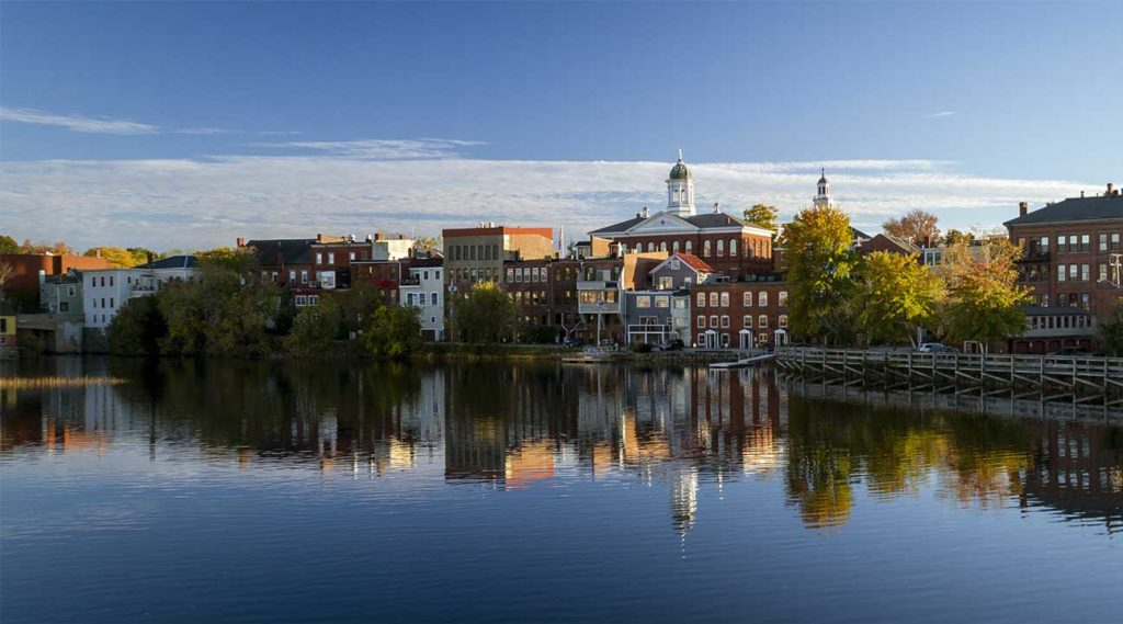 view of Exeter, New Hampshire from the river