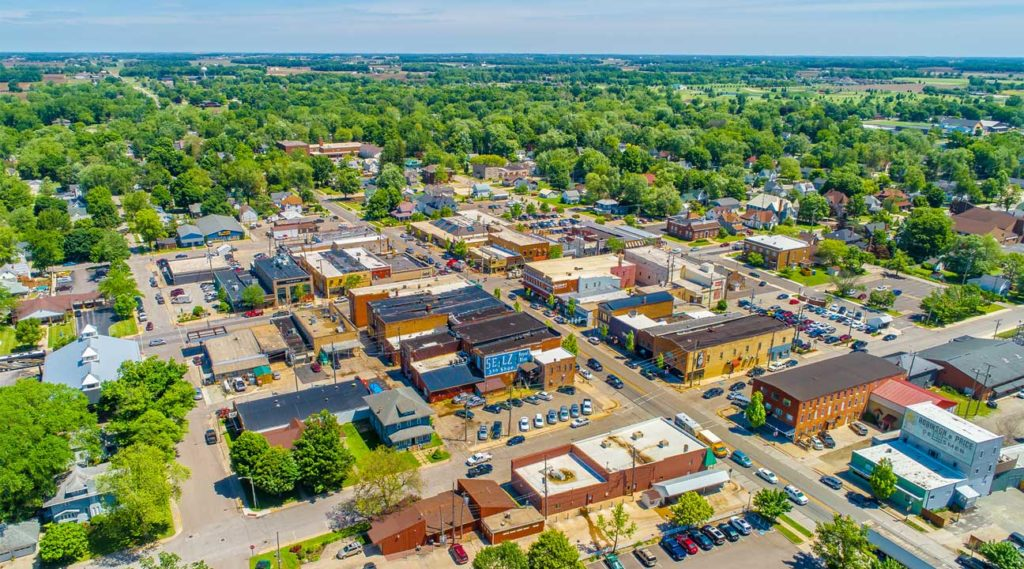 aerial view of downtown Hudson, New Hapshire