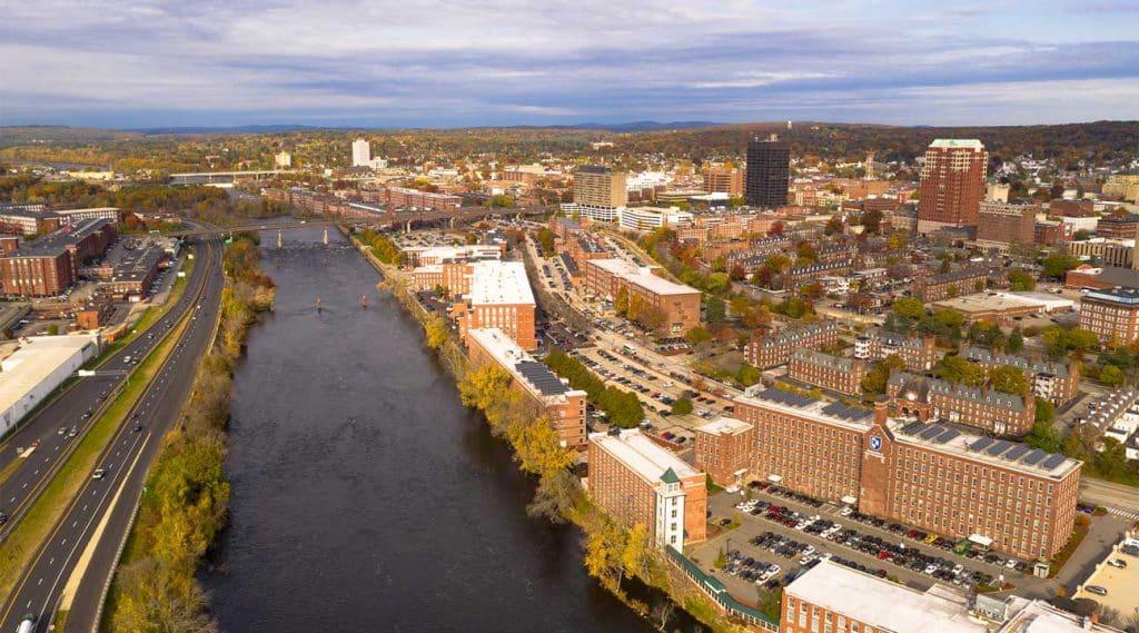 Aerial View New Hampshire Merrimack River