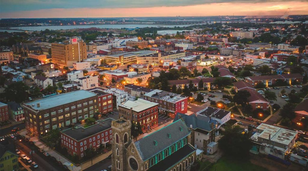 Aerial view of Perth Amboy New Jersey at Sunset
