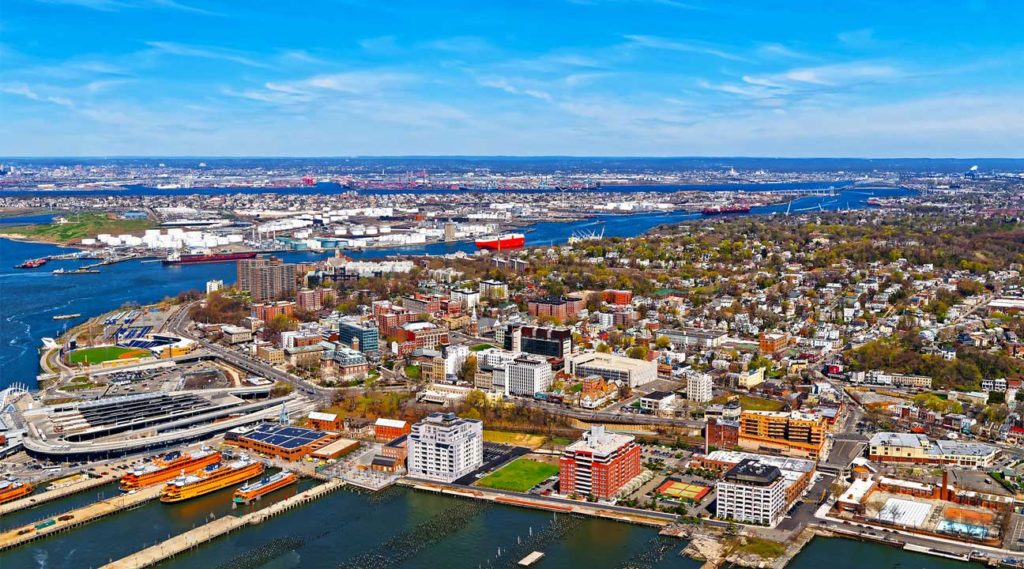 aerial view of Bayonne New Jersey on a sunny summer day