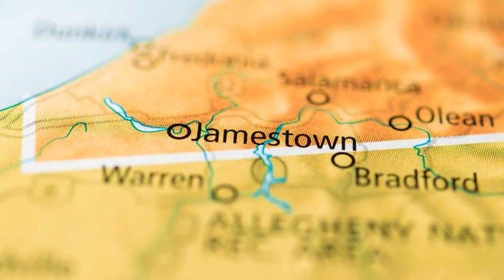 map of Jamestown, New York, USA