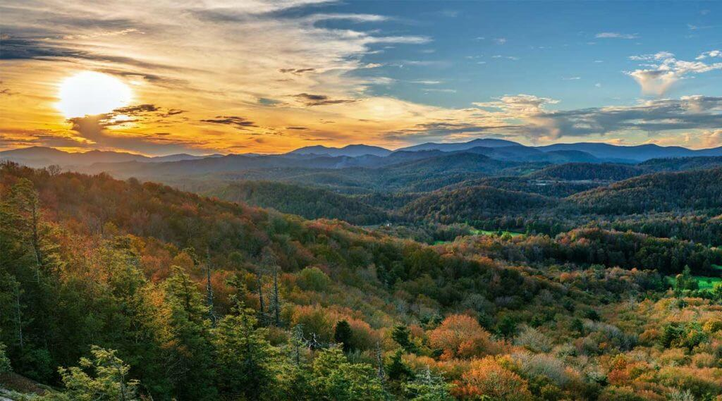 hills of North Carolina at sunrise