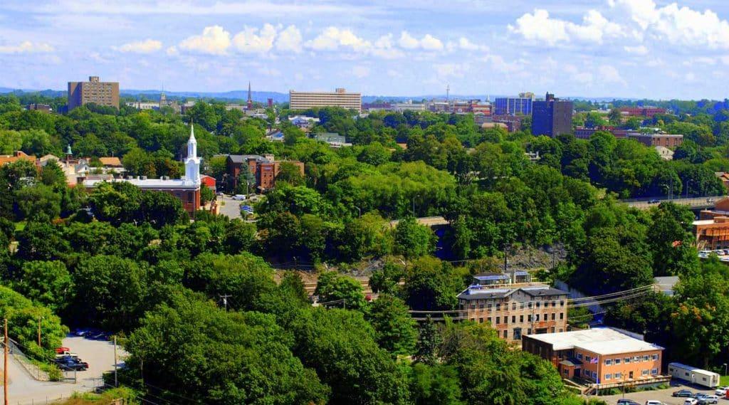 aerial view of Poughkeepsie, New York, USA