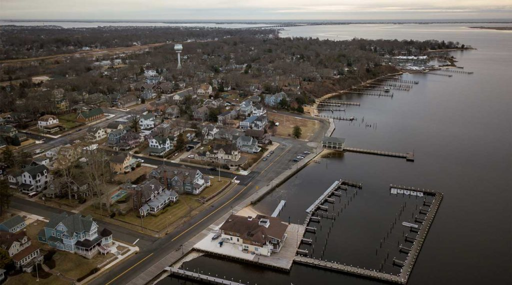 aerial view of Toms River, New Jersey from the bay