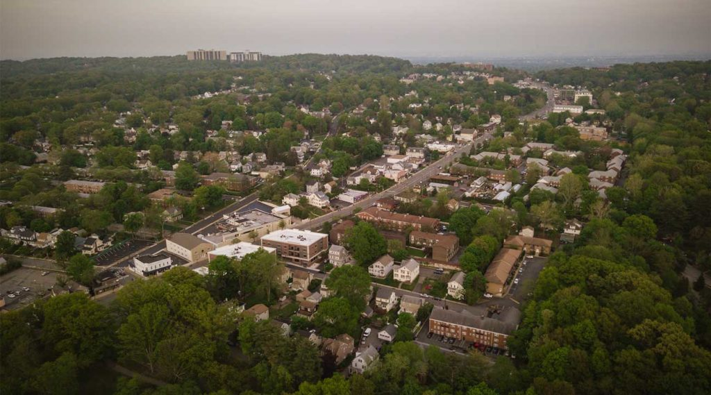 aerial view of West Orange, New Jersey