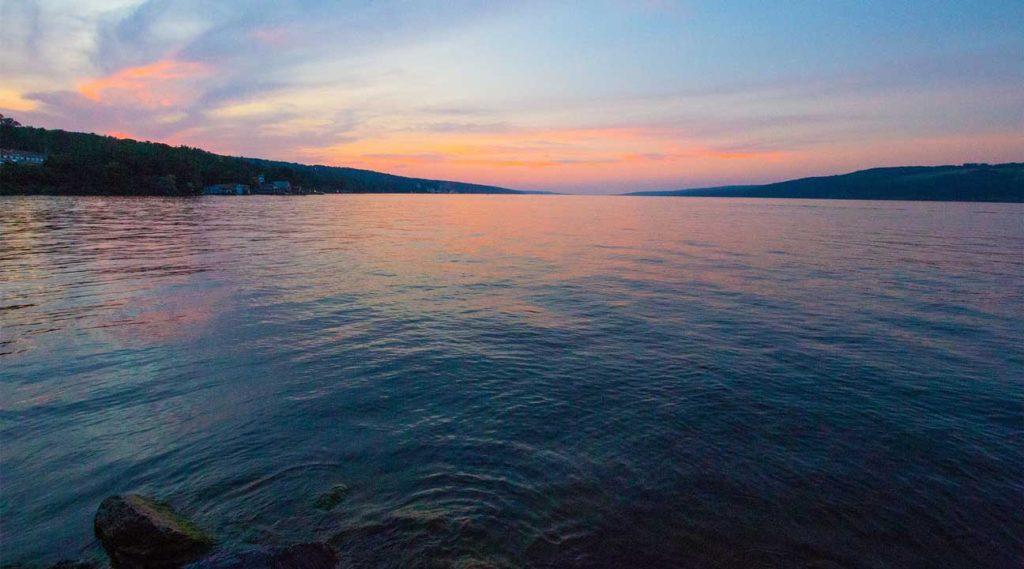 sunrise over a lake near West Seneca, New York