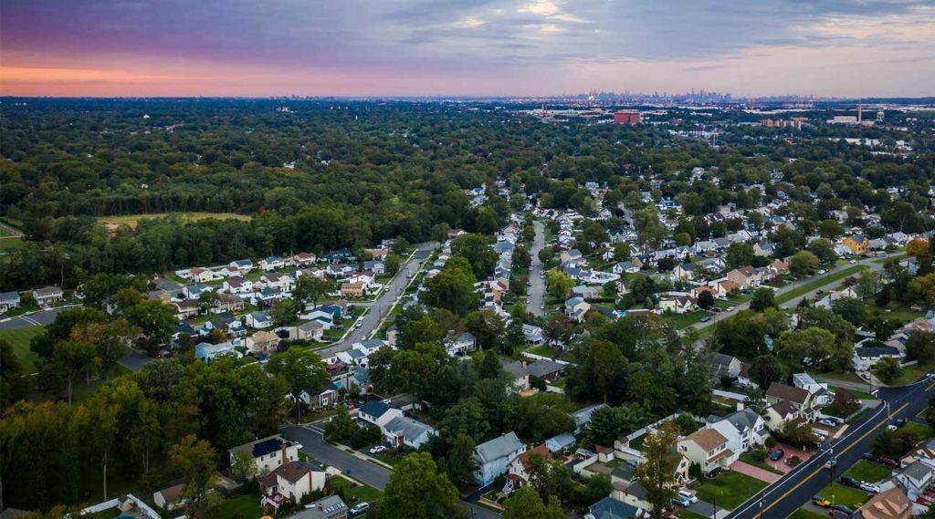 aerial view of Woodbridge, New Jersey at sunset