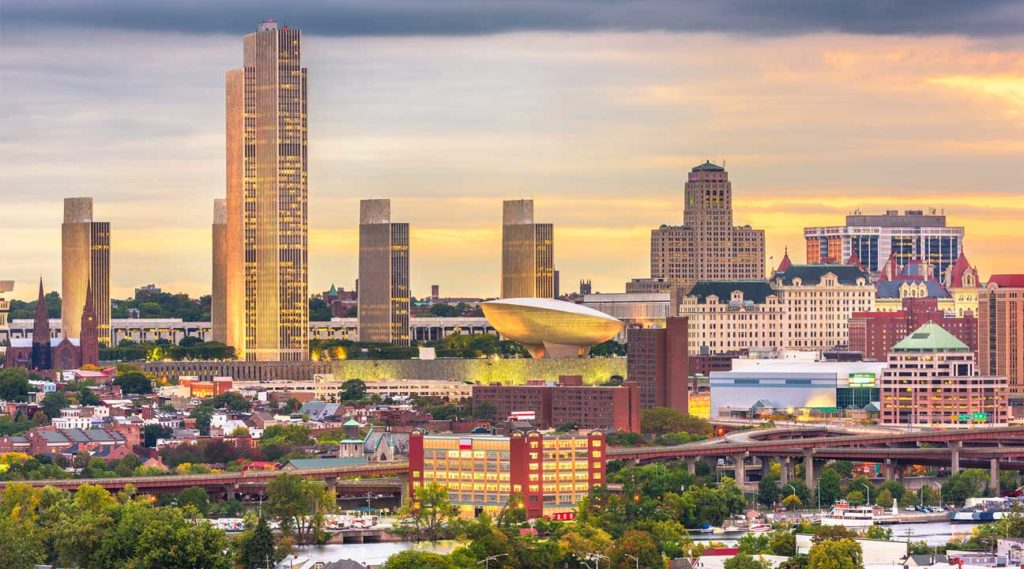 aerial view of the city of Albany New York Downtown Albany