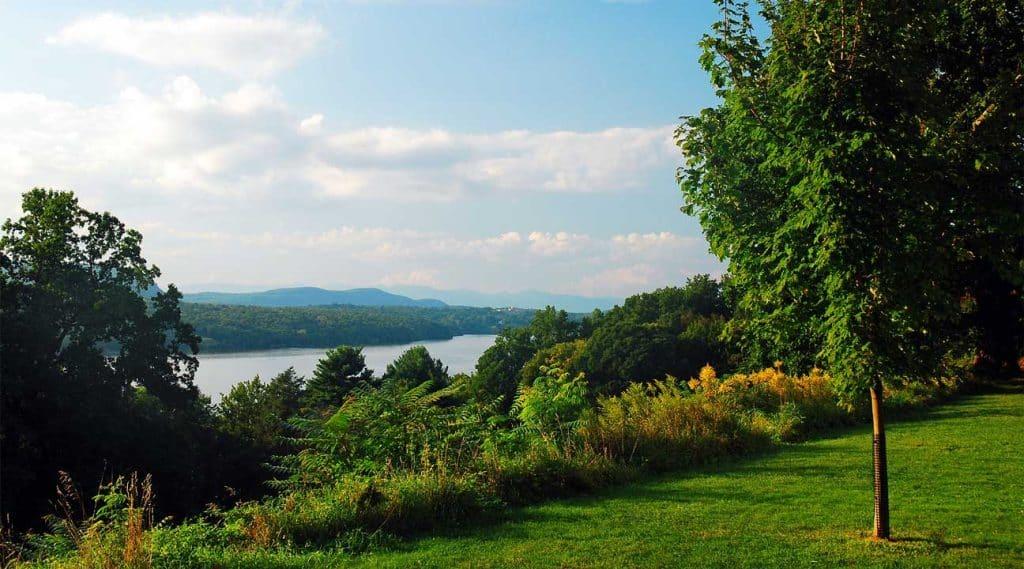 view of the hills across a lake near Bethlehem, New York