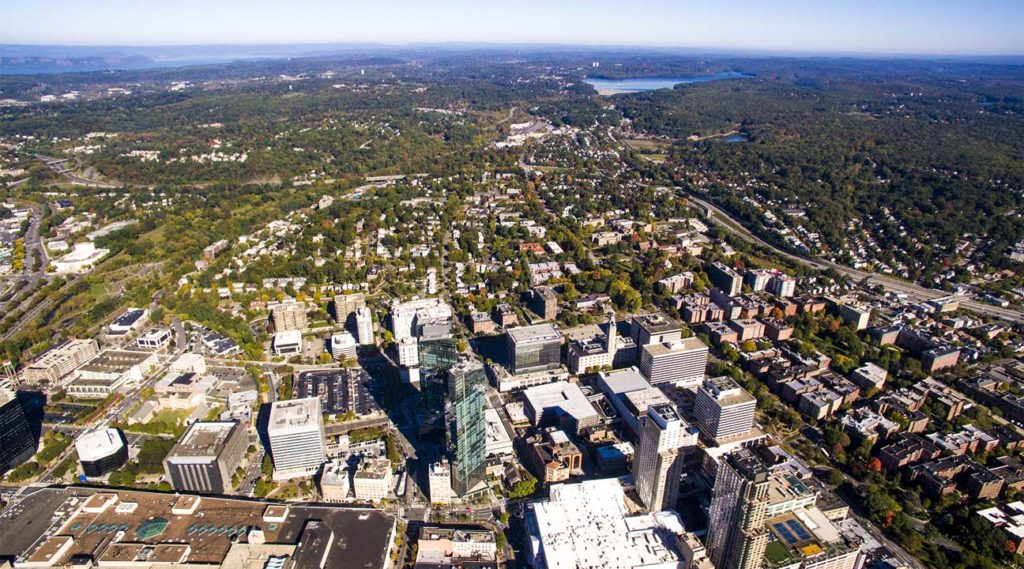 aerial view of neighboring cities near Haverstraw, New York