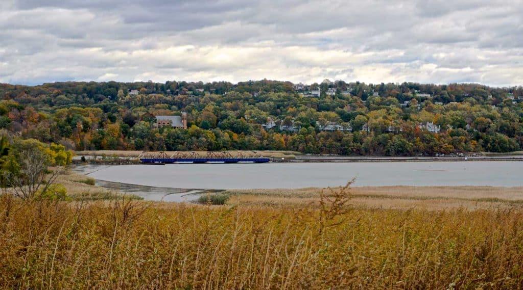 view of Ossining, New York across Hudson River