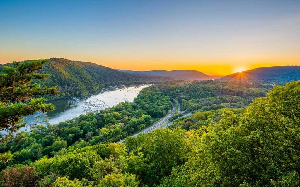 hills of West Virginia at sunrise